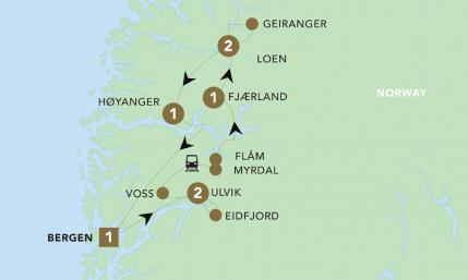 Map of Norway Fjords & Glaciers 2019 | BRT