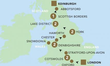 Map of Highlights of Britain 2019 | BRT