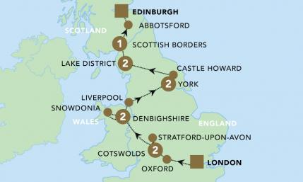 Map of Highlights of Britain 2020 | BRT