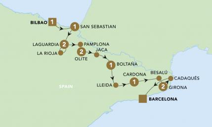 Highlights of Northern Spain map