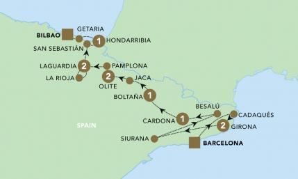 Map of Highlights of Northern Spain | BRT