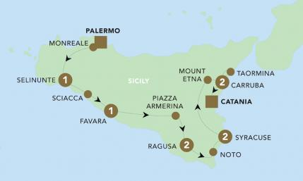 Map of The Splendours of Sicily 2019 | BRT