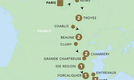 Map of Paris to Nice through Vineyards & Mountains 2019 | BRT