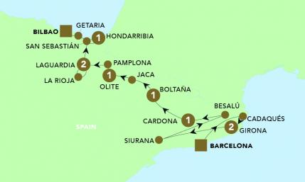 Map of Highlights of Northern Spain 2019 | BRT