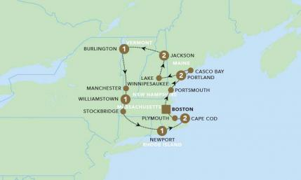 Map of Charming New England: Scenic Summer