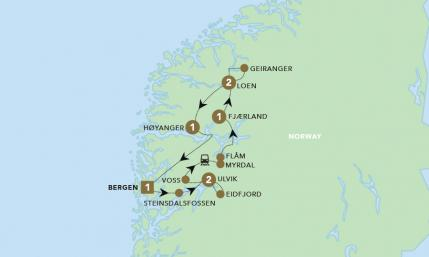 Map of Norway Fjords & Glaciers | BRT