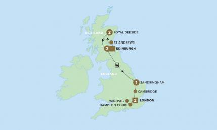 Map of Royal Tour of Britain