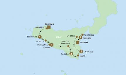 Map of The Splendours of Sicily | BRT